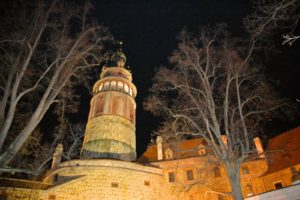 Cesky Krumlov Castle tower by night