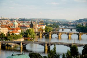Vltava River with Prague Bridges