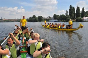 Large dragon boats for up to 20 paddlers in Prague centre