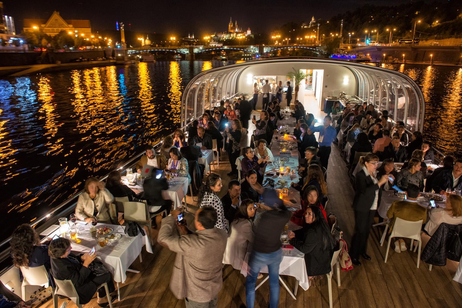 Gala dinner on boat in Prague city centre