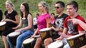 Team building with drumming, Czech Republic