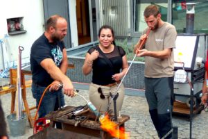 Portable glassworks workshop in Prague